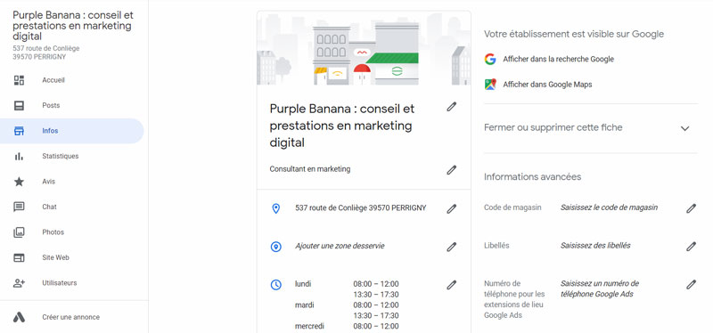 Google My Business infos