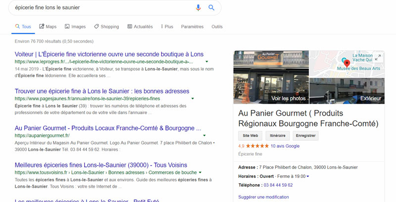 Google My Business exemple